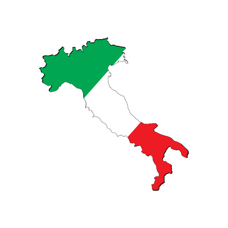 High resolution Italy map with country flag. Flag of the Italy overlaid on detailed outline map isolated on white background