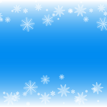 elaborate: Simple but cute winter background with various white snowflakes.