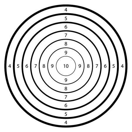 Modèle vierge pour le sport de compétition de tir objectif. cible Nettoyer avec des numéros pour la gamme de tir ou le tir au pistolet.