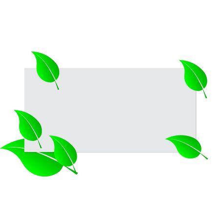 Blank white sheet paper and green fresh spring leaves. Frame template. Vector Illustration