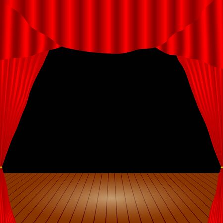 Cartoon theater. Theater curtain. Open theater curtain. Red silk side scenes on stage. Stock vector