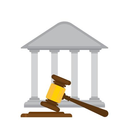 バック グラウンドで裁判所と裁判官小槌を持ってください。フラットなデザイン