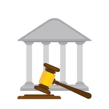 holding judges gavel with a courthouse in the background. flat design Stok Fotoğraf