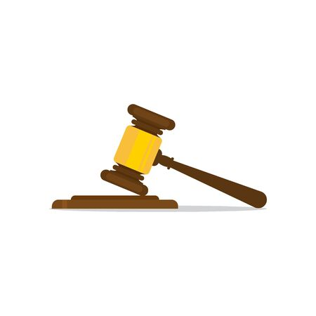 A wooden judge gavel and soundboard, vector illustration EPS 10.