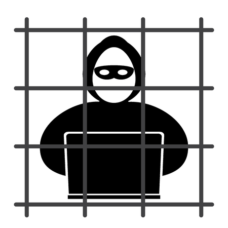 fraudster: Hacker icon sits in jail on a white background.
