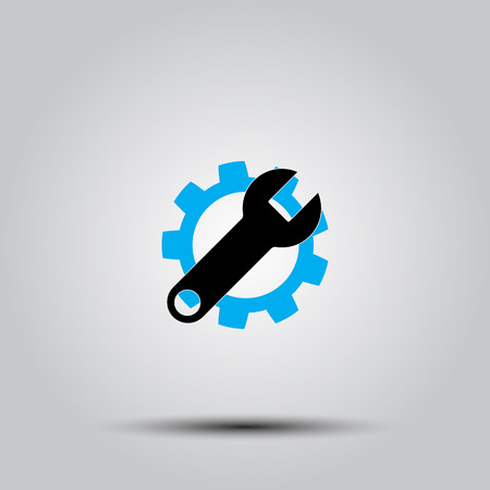 adjustment: Service tool icon. This isolated flat gear symbol uses modern corporation light blue and black colors. Illustration