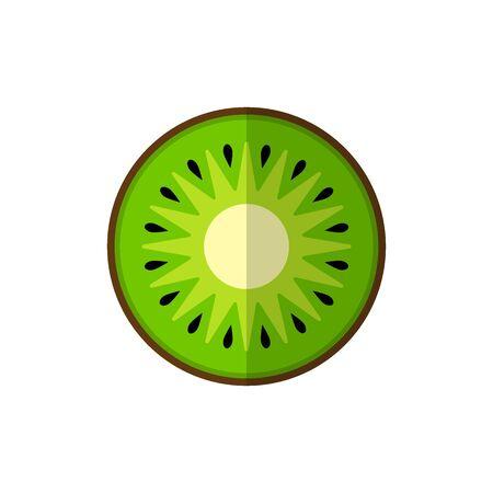 Green round piece of kiwi