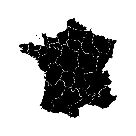 corsica: France map with borders of the regions. Illustration