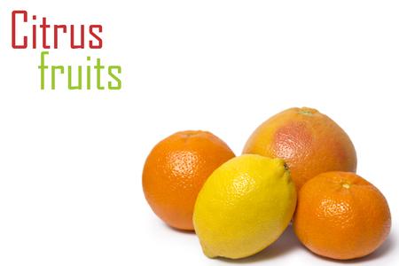 isolated citrus fruits orange, lemon and grapefruits isolated on white background