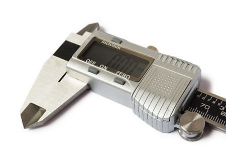Close-up of digital caliper. Isolated on white background. Stock Photo