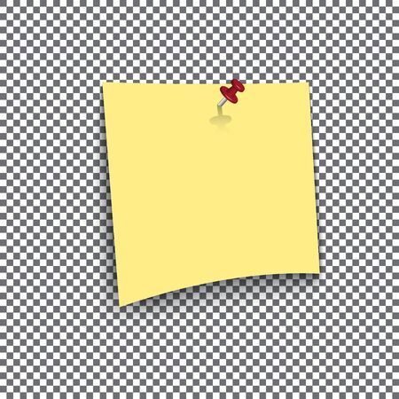 note pad: Yellow sticky note isolated on transparent background Illustration