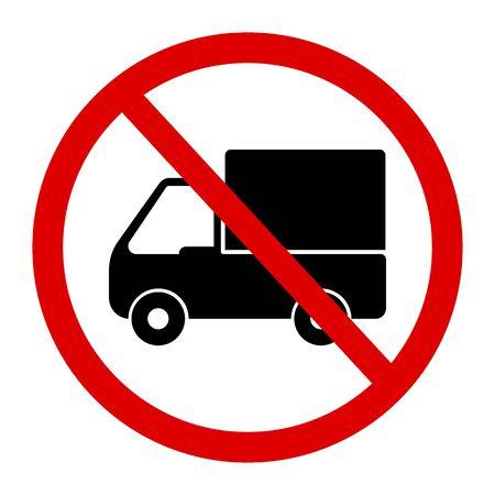 restricted area sign: No truck or no parking sign. Illustration