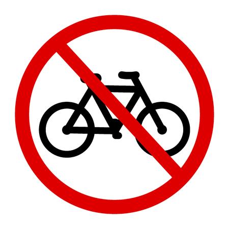 Ninguna bicicleta, bicicleta prohibida símbolo. Letrero indicando la prohibición o regla. Advertencia y prohibido. Diseño plano.