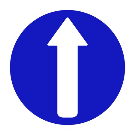 Illustration vectorielle signe de circulation bleu rond isolé sur fond blanc. La flèche de la route commence tout droit.