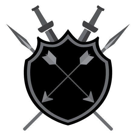 Shield with arrows swords and spears on a white background Illustration