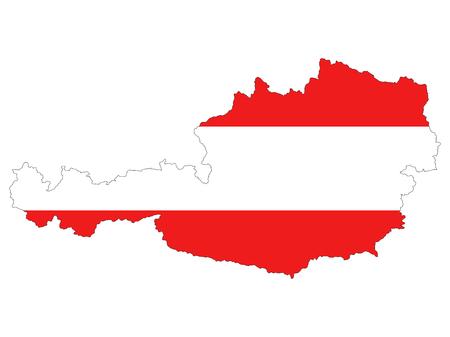 국가 플래그와 함께 높은 해상도 오스트리아지도입니다. 흰색 배경에 고립 된 자세한 개요지도에 겹쳐 오스트리아의 국기 일러스트