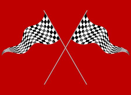 two crossed checkered flags: Two flags on a red background