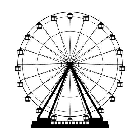 Ferris wheel fair entretaiment round attraction fun vector isolated illustration Vector Illustration