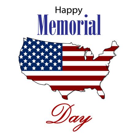 Tarjeta feliz de Memorial Day del vector. Ilustración de fiesta nacional estadounidense con la bandera de Estados Unidos. Cartel festivo o banner con letras de mano.