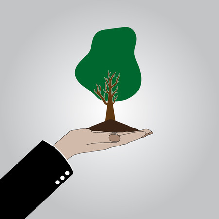 Hand with tree icon. You can use for nature care logo, ecology logo and health logo. Vector illustration eps 10