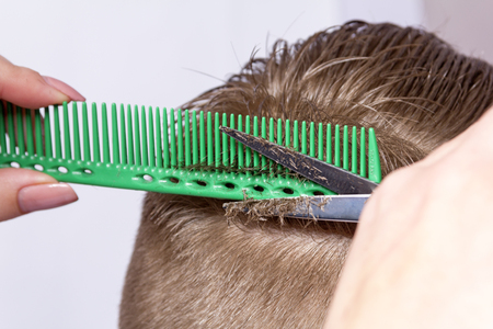 Fragment of the young mans head during shearing with hairdressers scissors on blurred background of window 스톡 콘텐츠