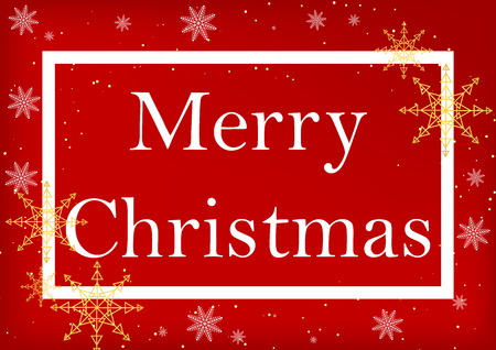 Christmas Greeting Card. Merry Christmas lettering, red background