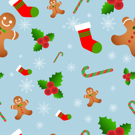 Vector seamless flat pattern with icons of christmas 스톡 콘텐츠