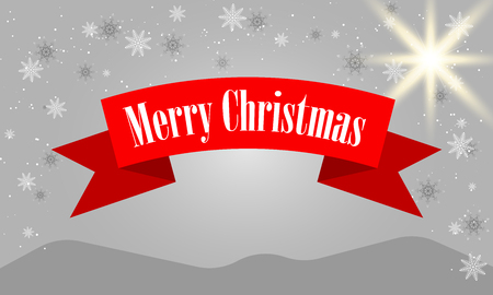 Merry Christmas lettering design with white snowflakes on gray gradient background.