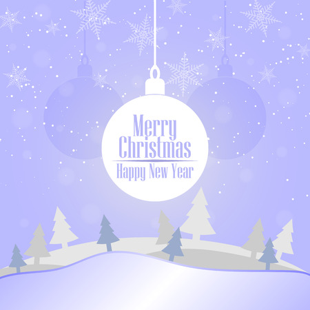 2019 Christmas and Happy New Year greeting card background. Xmas ball on winter landscape decoration design. 스톡 콘텐츠