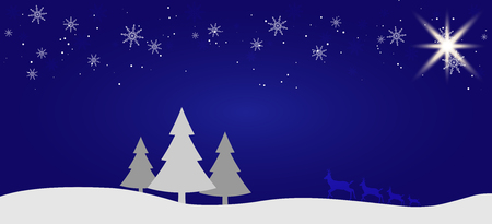 Beautiful Christmas winter flat landscape background. Christmas forest woods with mountains. New Year vector greeting card 스톡 콘텐츠