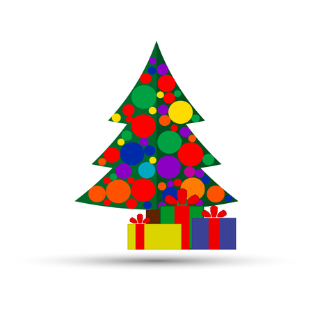Christmas background with decorated tree and gift boxes. Colorful flat presents for holiday. Modern design. Christmas and New Year elements for decoration. Vector illustration isolated on white. 스톡 콘텐츠