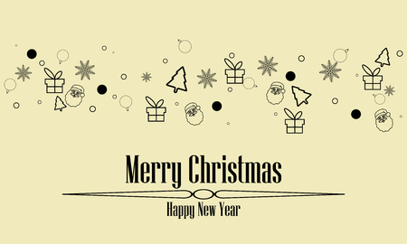 christmas greeting ornament icons element banner black colour isolated background