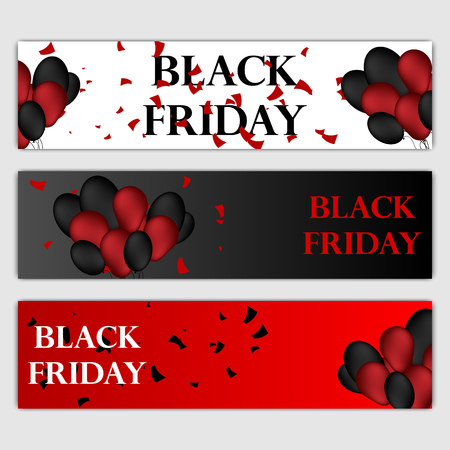 Black Friday Sale Horizontal Banners Set. Flying Glossy Balloons on White and Red Background. Falling Confetti and Serpentine. Vector illustration. 일러스트