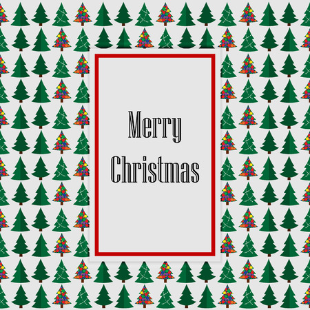 Merry Christmas green withe card tree background. Vector illustration