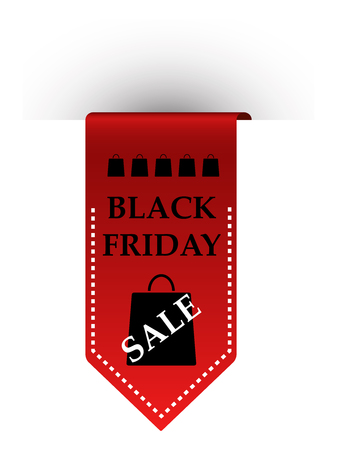 Sale sign. Red ribbon with inscription Black Friday