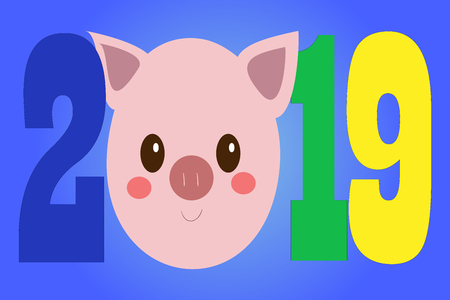 Creative postcard for New 2019 Year with cute pig. Concept, vector vertical editable template. Symbol of the year in the Chinese calendar. Cartoon. Isolated. Vector illustration. Year of yellow pig 일러스트