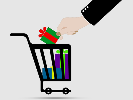 Shopping basket icon with christmas gifts. Hand puts a gift in the shopping cart. 일러스트