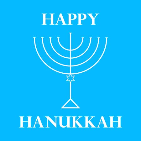 Hanukkah Menorah on Light Blue Background