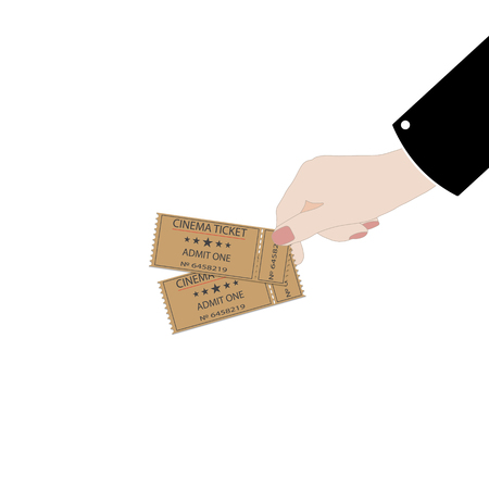 Holds tickets in hand on white background. Man shows a ticket. Access entertainment, cinema, theater concert. Pass permission. 일러스트