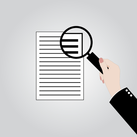 Financial accounting concept. Businessman holding magnifying glass with checklist