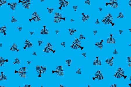 Pattern with menorah. Black menorah on a blue background 스톡 콘텐츠