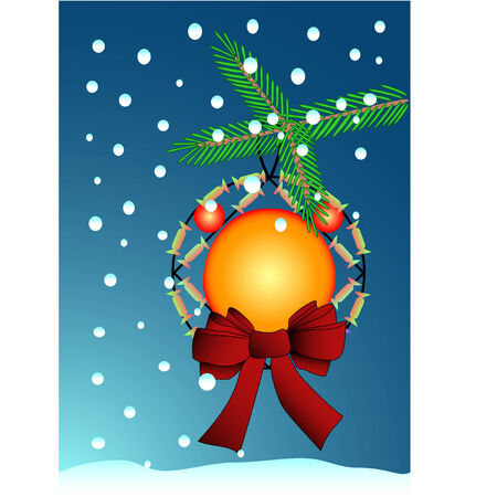 Christmas background with a tree branch, a toy and a falling snow Stock Vector - 7704578
