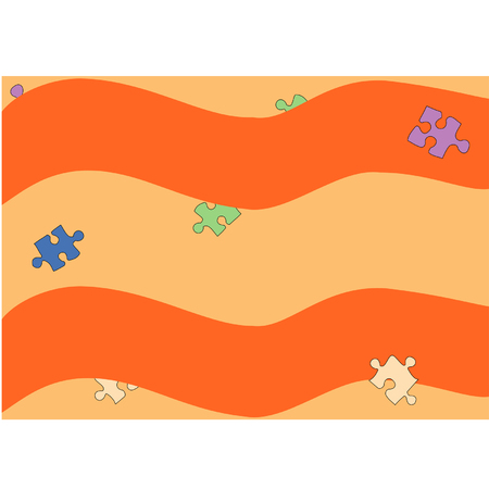Background with puzzles on a wavy yellow-orange background