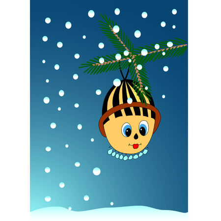 Christmas background with a tree branch, a toy and a falling snow Stock Vector - 7704576