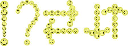 interrogativa: Conjunto de sonrisas en forma de signos interrogativos, exclamatory y flechas de caracteres