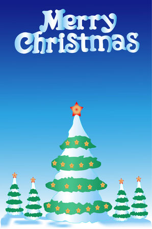 furtree: Greater christmas fur-tree and 4 small fur-trees on a dark blue background with asterisks on tops