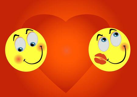 2 enamoured smiles on background big heart Vector