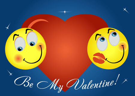 2 enamoured smiles on background big heart Vector