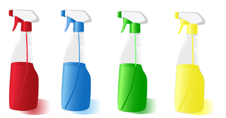 squirt: Set of the spray bottles 4 colours on white background