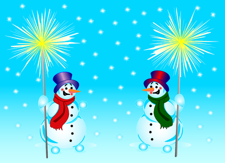 bengal fire: 2 snowmans with a bengal fire on a background of falling snowflakes